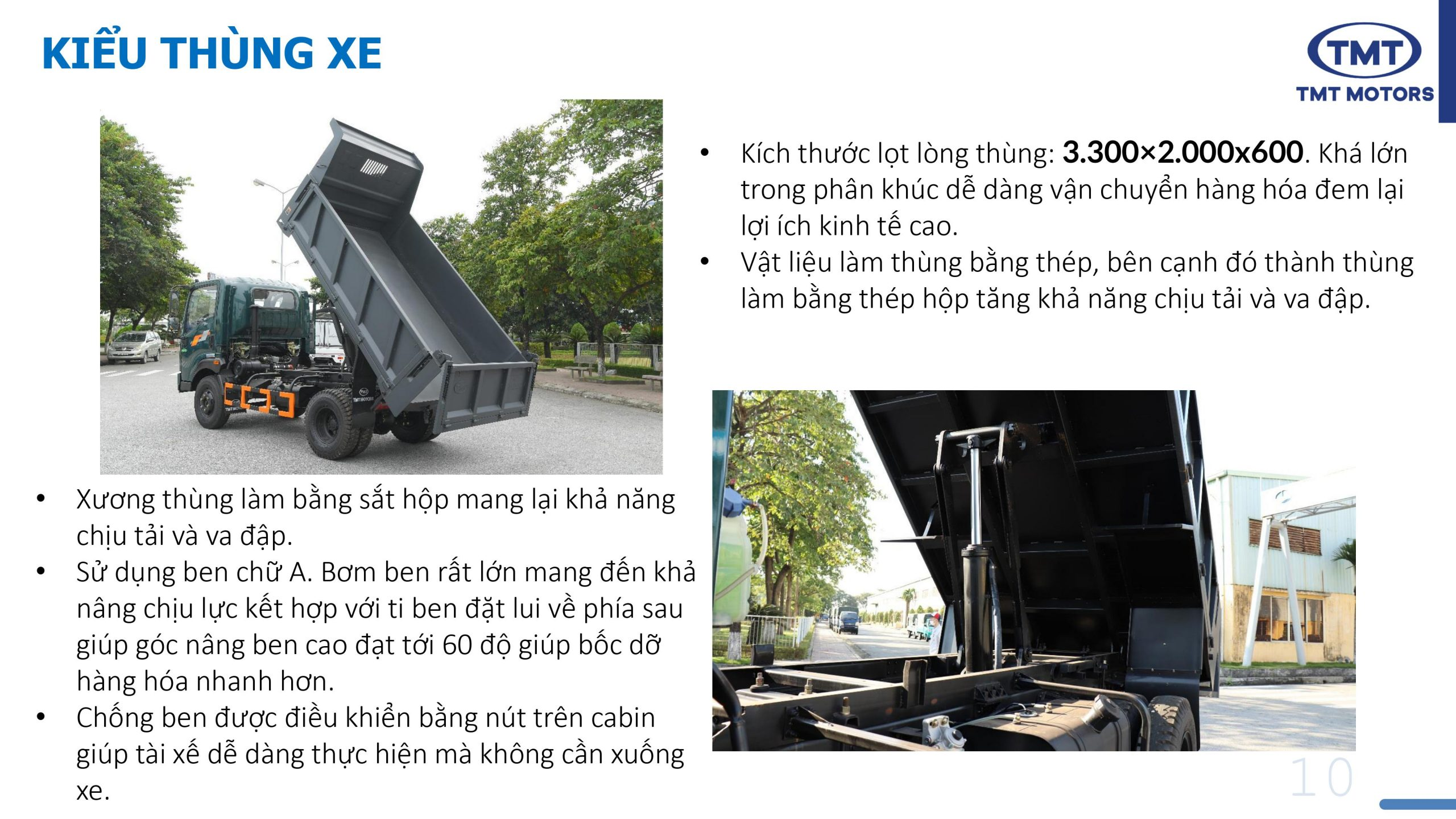 Kích thước thùng xe ben tmt 5 tấn kc7050d
