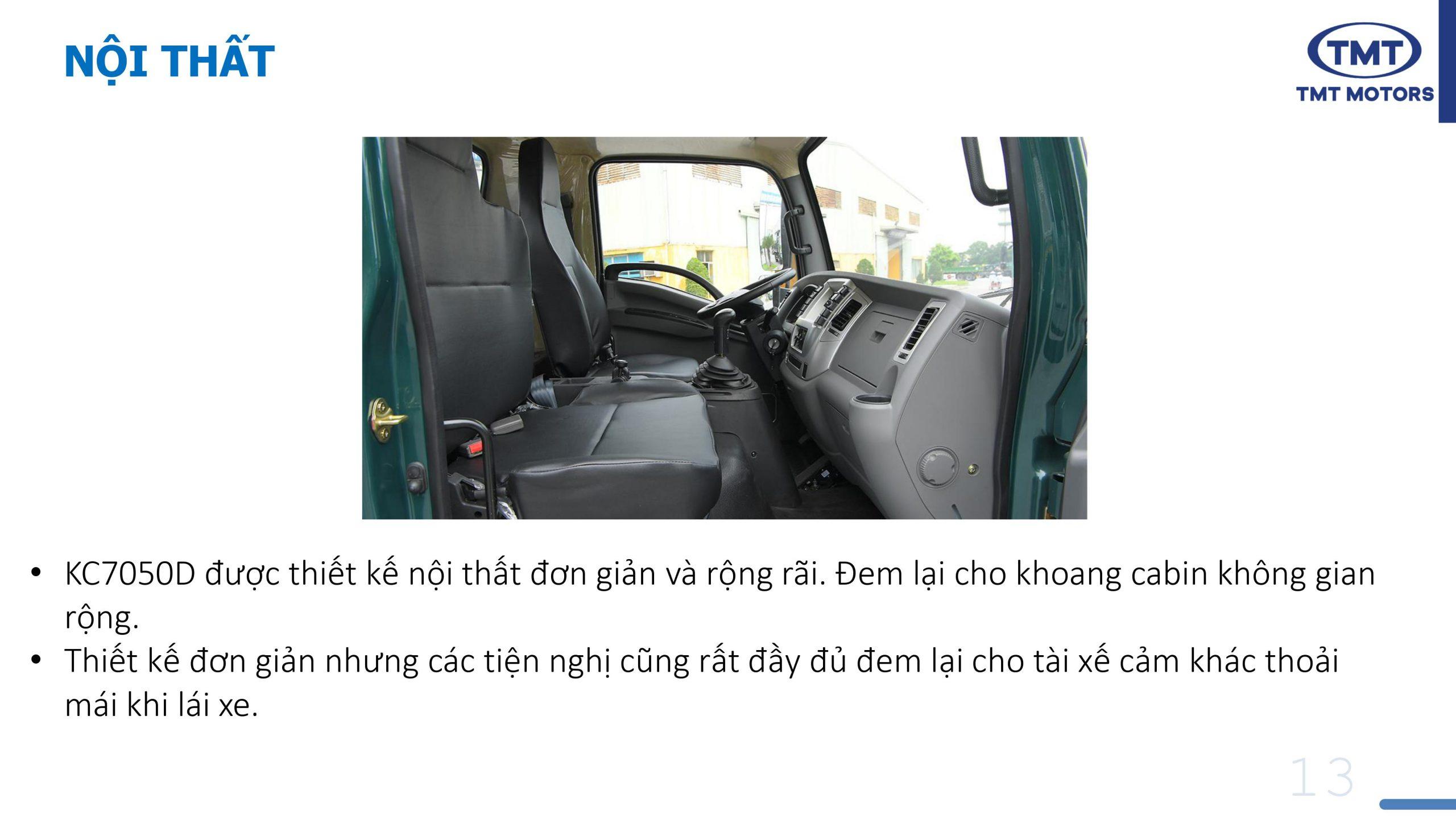 Nội Thất xe ben TMT 5 tấn Kc7050D