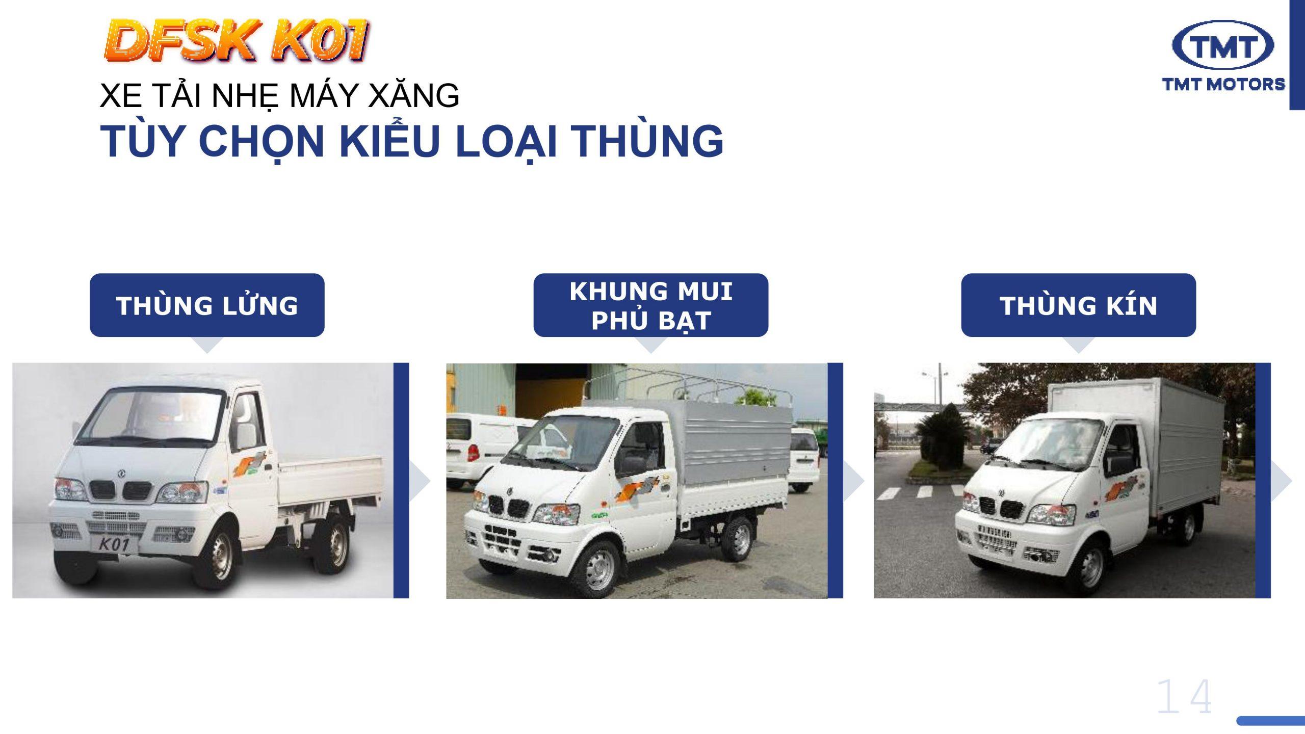 Xe Tải TMT K01 có 3 kiểu thiết kế thùng