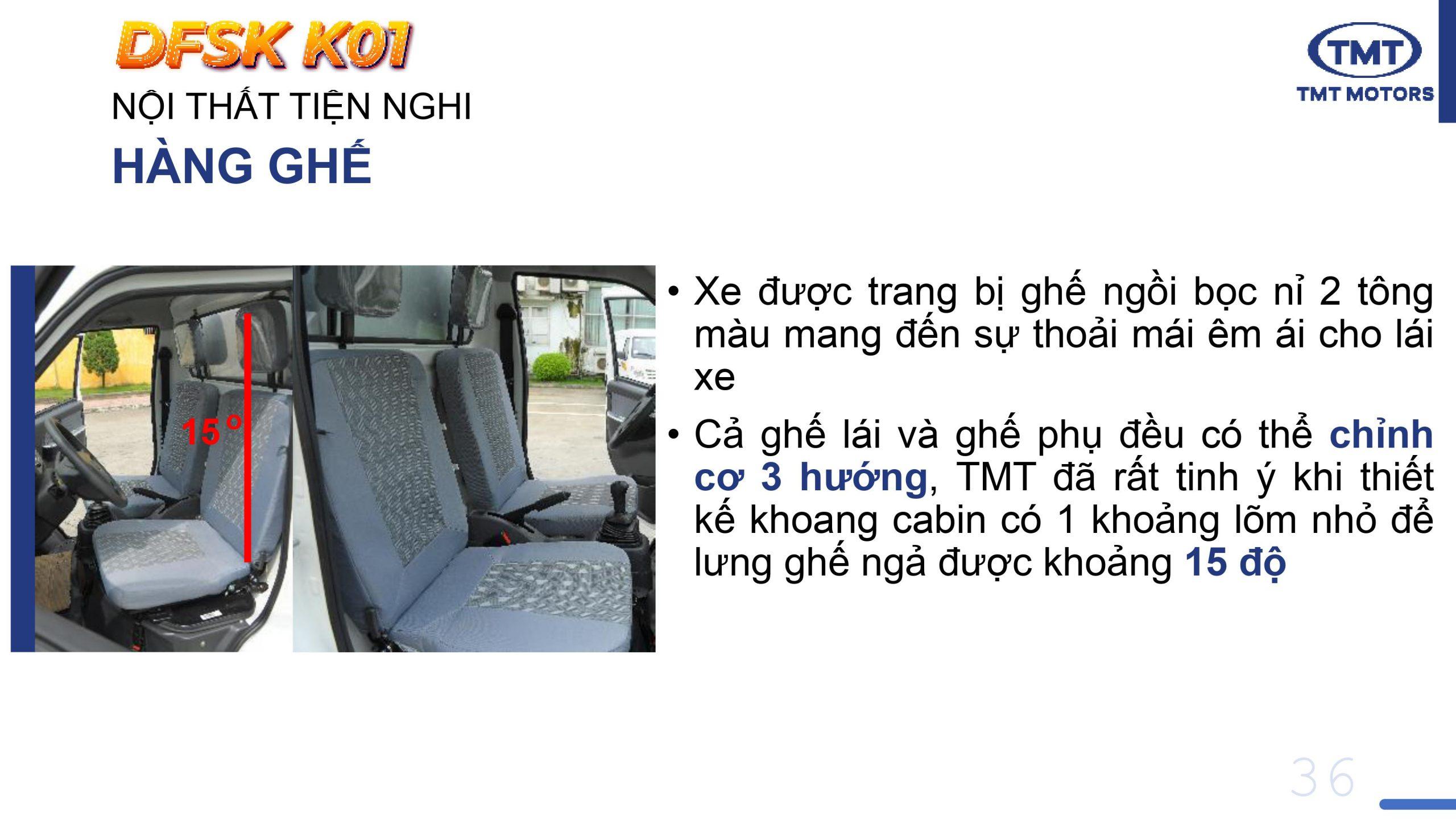 Ghế Xe Tải TMT K01 rộng rãi thoải mái và sang trọng