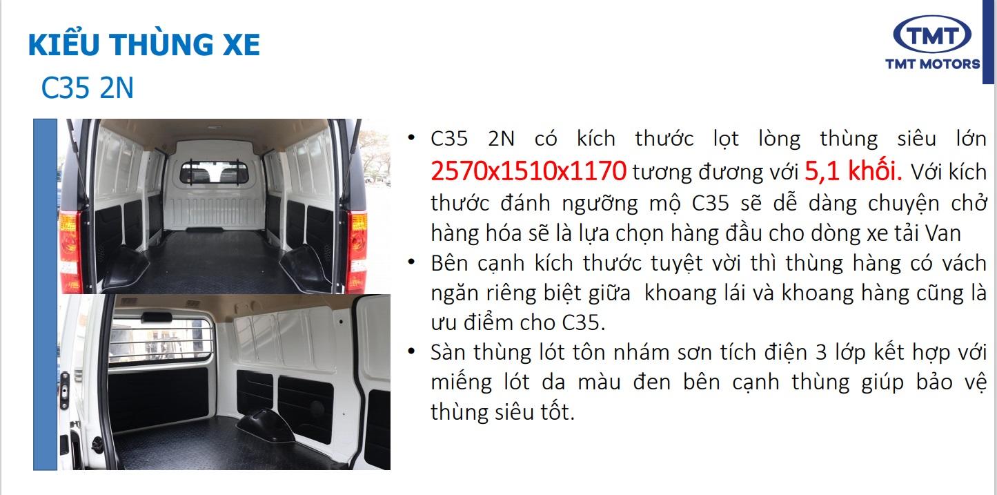 Thùng Xe Tải Van TMT C35 2 chỗ ngồi 945KG